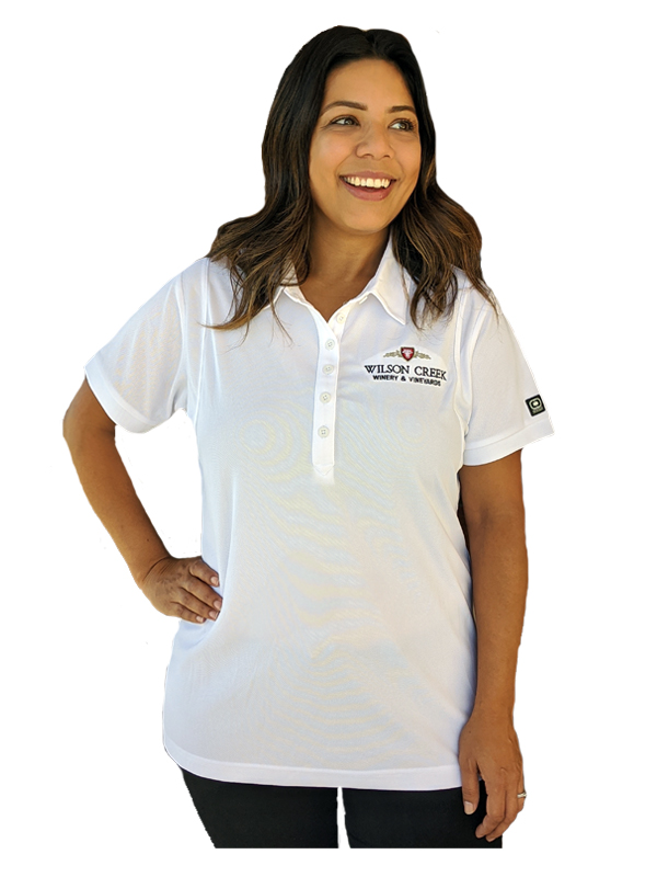 Woman's White Polo w/ Colored Logo
